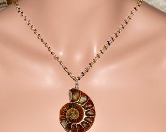 LP 1306  Polished, Cut Ammonite Fossil, Green And Brown Tourmaline Sterling Silver Chain Necklace