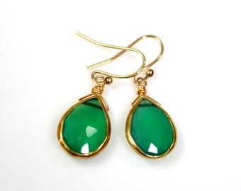 LP 1299  Bright Green Onyx And Vermeil Bezeled  Earrings