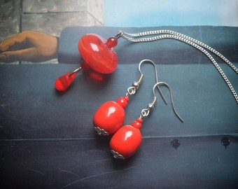 Lipstick Red Hollow Glass bead Pendant and Red Clay bead earrings