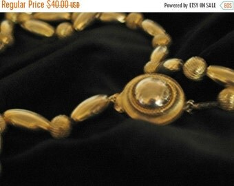 Vintage 40s MINT  Gold Deco Bead Necklace