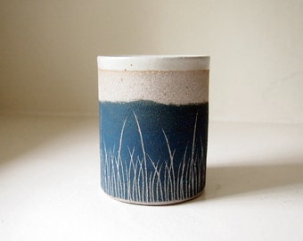 Ceramic Grass Planter/Cup, Teal Blue