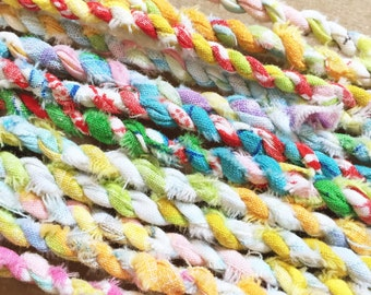 Colorful Fabric Twine - Handmade From Vintage Sheets / Scrapbooking Embellishment / Fiber Arts / Ribbon Cord Rope Trim String
