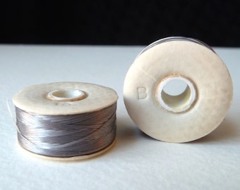 Gray Nymo Beading Thread, Size B Nylon - Embroidery, Stitching, Looming, Weaving, Sewing, StrongThread - 72 yd Bobbin