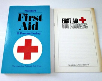 Vintage American Red Cross First Aid & Personal Safety Book and First Aid For Poisoning Pamplet - Red Cross Collectible - First Aid Book