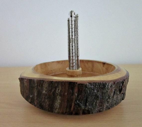 Vintage wood log nut bowl with nut cracker 4 picks rustic home