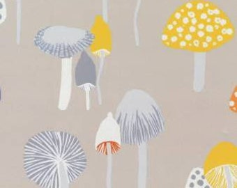 Grey Orange and Mustard Mushroom Fabric, Wildwood Collection for Dear Stella, Mushroom in Khaki, 1 Yard