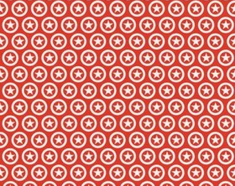 Two Tone Red Circle Lucky Star Jersey Knit Fabric From Riley Blake Basics, 1 Yard