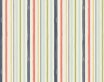 Navy Green Coral and Blue Stripe Cotton Fabric, Woodland Spring Designs by Dani for Riley Blake Designs, Stripe Print in Navy, 1 Yard
