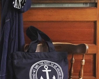 hope is my anchor Hebrews 6:19 tote bag