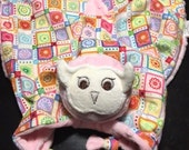 """Reserved for a Great Customer, 12""""x12"""" Baby Pink Owl Lovey with Rattle"""