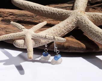 Sea Glass Earrings - Sterling Earrings - Lake Erie Jewelry - Erie Glass - Beach Glass - FREE Shipping inside the United States