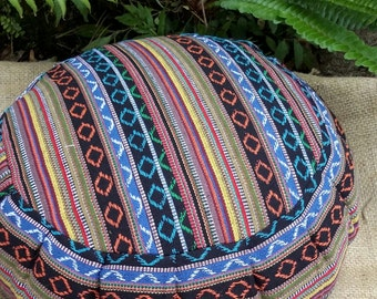 Exotic Salvador Hasina Cotton Round Buckwheat Hull Meditation Cushion