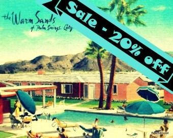 Mid Century Modern Art Motel Print PALM SPRINGS photograph vintage California art mcm Warm Sands Swimming Pool Art  Retro Motel Photograph
