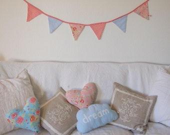 Romantic Style Bunting, Pastel Pink Floral Blue Gingham Dots,  Home Decor, Playroom, Nursery, Girl, Bedroom, Living Room, Party, Garden