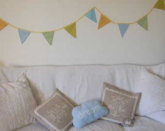 Long Bunting,  Pastel Green Blue Yellow, Party, Home Decor, Playroom, Nursery, Girl, Boy, Teen, Bedroom, Living Room, Garden, Baby Shower