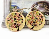 Wood Buttons - Flowers Tree Pattern wooden Buttons, 1.18 inch. 6 in a set