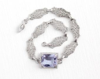 Antique Sterling Silver & Simulated Amethyst Filigree Panel Bracelet - Vintage 1920s Art Deco Light Violet Purple Glass Stone Flower Jewelry