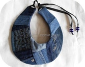 Rustic Denim Patchwork Collar, One of a Kind statement piece, Unique Art to wear Jeans Collar, Handmade Reclaimed fabric neckwear, One Size