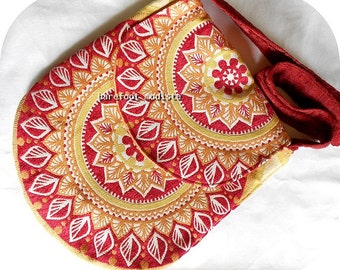 One of a Kind Upholstery Boho Bag, OOAK Shoulder Bag, Handmade by Barefoot Modiste, Unique Bohemian Chic, Handmade, Carpet Bag, Medium Size