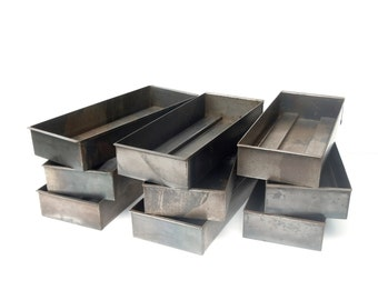 Vintage Industrial Metal Steel Bins or Trays / Set of 9 / Storage Organization / Raw Steel / Supply Storage / Grey