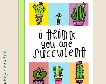 Humorous Valentine's succulent plant illustration, 4 1/4 x 5 1/2 succulent cactus art card.