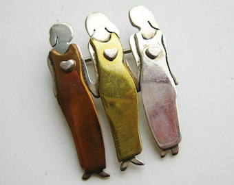 Vintage Sterling Silver Copper Brass Far Fetched Three Sisters Friends Brooch Pin