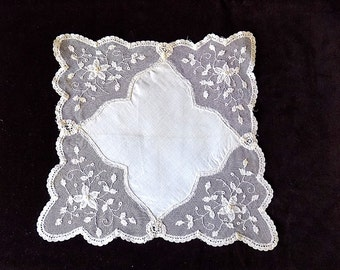Bridal Handkerchief with French Tambour Lace Border of Flowers for Something Old