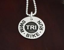 Swim . Bike . Run  - Sterling Silver Triathlon Jewelry
