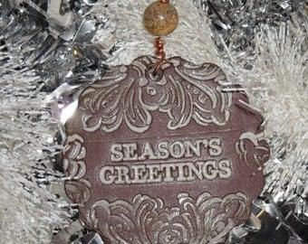 Handmade Ceramic Ornament - Season's Greetings