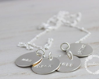 mothers necklace | mommy jewelry | 4 kids names | four names | name tags | mothers days gift | gift for mom | push present | mom of 4
