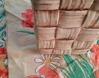 Shawnee vase basket ceramic earth tones