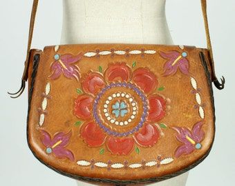 vintage 1970s purse • boho tooled & painted leather bag • WHIP STITCH