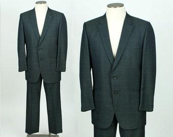 vintage 1960s suit • green & blue subtle plaid pattern