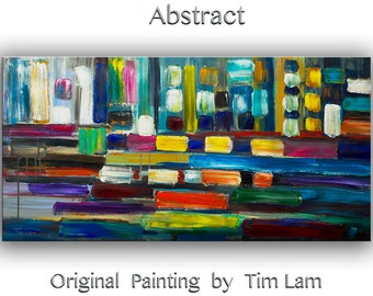 Large wall Painting art Original Abstract Oil painting Modern home decor colorful painting stripes patches on canvas art by Tim Lam 48 x 24""