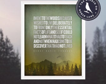 "Henry David Thoreau – I went to the woods... [No.2] Hiking / Typographic / Nature / 8""X10"" / Digital Print"