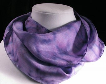 Scarf, Hand Painted Silk Scarf, Purple Scarf, Spring Scarf, Mother's Day Scarf - Amethyst Reflections