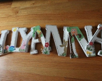 Custom Nursery Letters - Wooden Wall  Hanging Letters - Baby Name Letters- Nursery Letters Animal Theme -Nursery Decor- Baby Name Letters