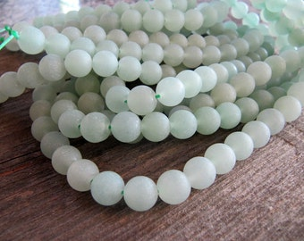 8mm Frosted Green Aventurine Beads, Round Gemstones, 1 Strand, Approx 46 Beads, Matte Stone Beads, Sage Green, Pale Green