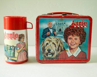 Vintage 1981 Annie Metal Lunch box with Original Thermos!