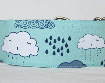 Rainy Day Martingale Dog Collar - 1.5 or 2 Inch - teal turquoise cloud cloudy rain water sky