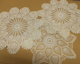 Vintage Handmade Doily Lot of 4 Pineapple and Rose Designs