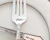 "Mr & Mrs and date, vintage wedding bride and groom forks ""ancestral"", hand stamped"