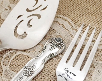 Love you/ love you more forks AND cake server set wedding, magnolia inspiration, hand stamped