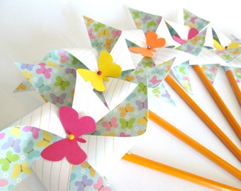 Paper Pinwheels Birthday Favors 12 Twirling Pinwheels Birthday Favors Butterfly Favors  Butterflies Party Decorations Baby Shower Favors