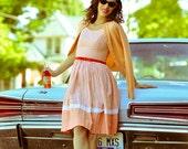 VINTAGE 1950s Gingham spagetti strap dress / xs / orange and white / summer dress