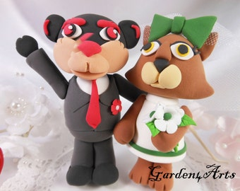 Custom Love MASCOT couple wedding cake topper with circle clear base