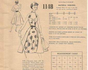 1950s Halter Dress Draped Bodice Overskirt Bombshell Cocktail Dance Dinner Modes Royale 1148 FF Sz 14 Bust 32 Womens Vintage Sewing Pattern
