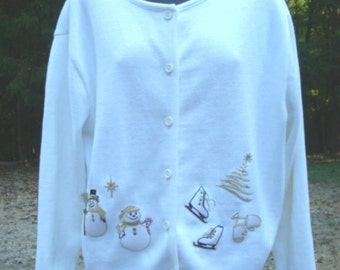 Ugly Christmas Sweater White with Snowmen Skates Mittens Christmas Tree All Cotton Bust 40-42 Women's Cotton Sweater