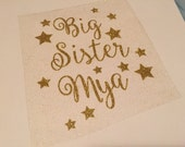 Glitter Vinyl Iron On Big sister personalized stars