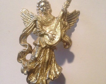 Golden Angel Ornament, Gorgeous Gilded Color, Lightly Powdered with Gold Glitter -- Stunning!